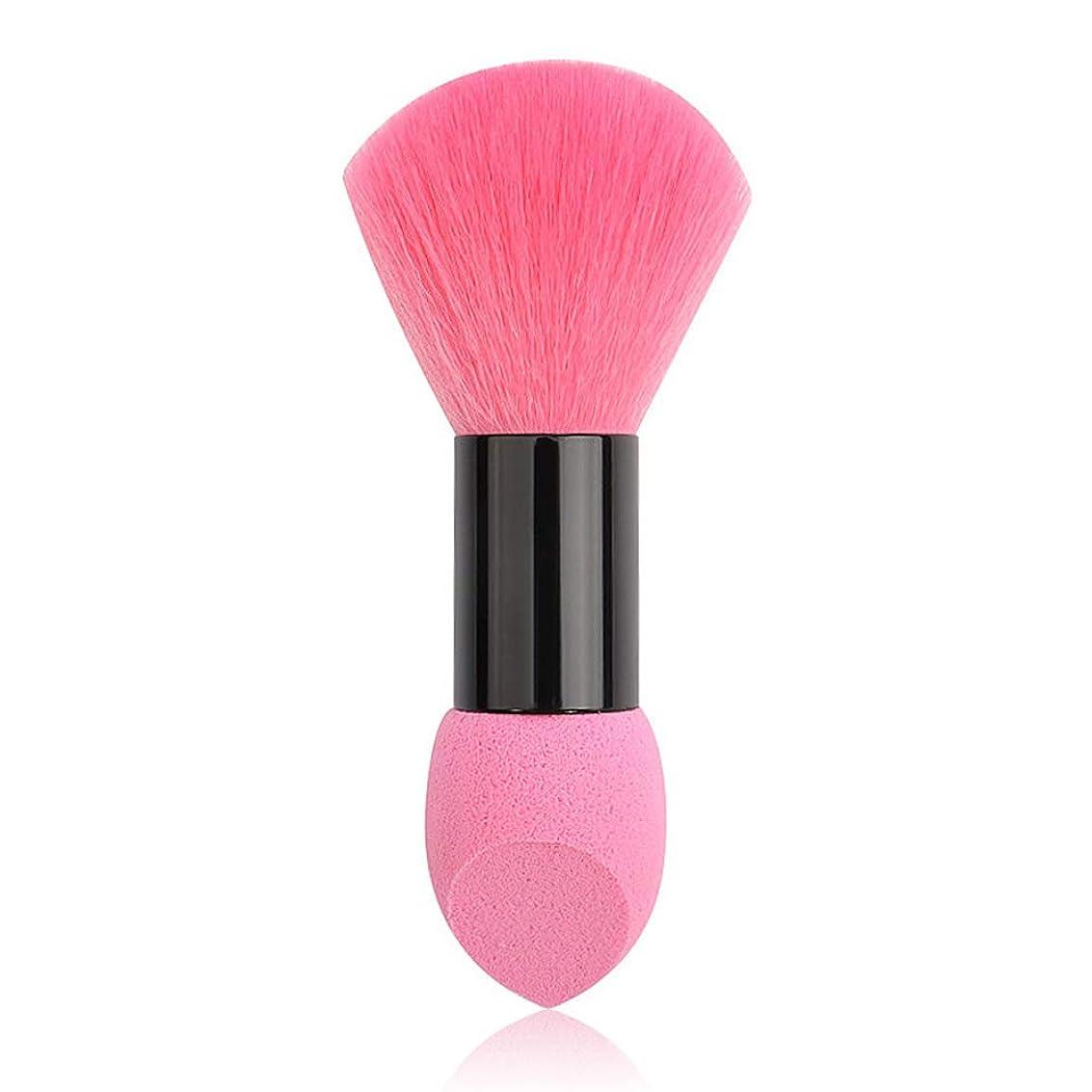 なしで不良簡潔なAIFHI ダブルヘッド化粧ブラシ 化粧筆 ファンデーションブラシ フェイスブラシパフツーインワン(ピンク)