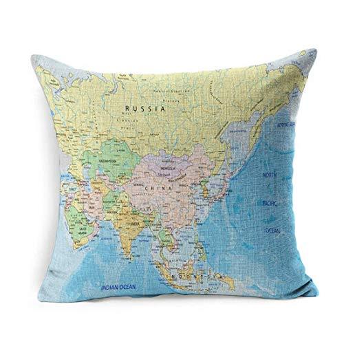 Funda de Almohada de Lino Cuadrado Azul India Asia Continente Altamente detallado Mapa político Rusia Atlas UAE Funda de Almohada Decoración para el hogar Funda de cojín 18x18 Pulgadas