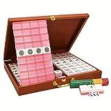 HIUHIU Rosa Crystal Mah-Jong Chino Numerado Mahjong Conjunto, Colección China de Primera Calidad 144 Azulejos Majiang, Fiesta/Mesa/Juego de Mesa, Regalo/Cumpleaños, (Mah-Jongg, Mahjongg,)
