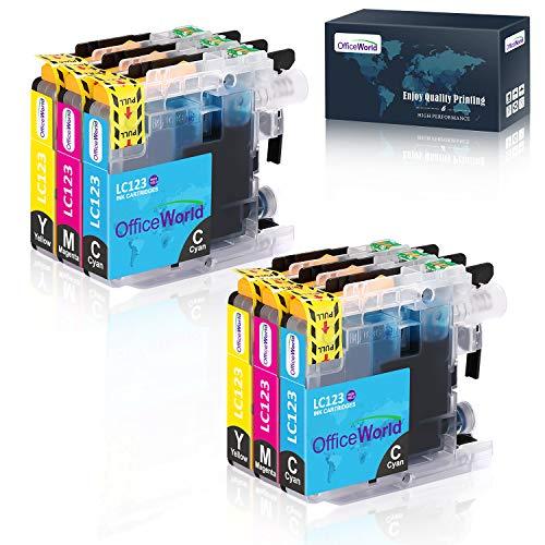 OfficeWorld Ersatz für Brother LC123 Cyan Magenta Gelb Druckerpatronen Hohe Kapazität Kompatibel für Brother MFC-J6520DW, DCP-J4110DW, MFC-J4410DW, MFC-J470DW, MFC-J870DW, DCP-J132W, MFC-J4510DW