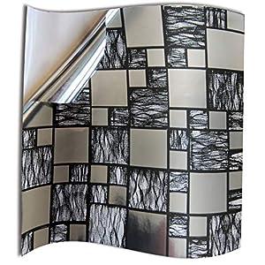 24x Cromo negro plateado Lámina impresa 2d PEGATINAS lisas para pegar sobre azulejos cuadrados de 15cm en cocina, baños – resistentes al agua y aceite