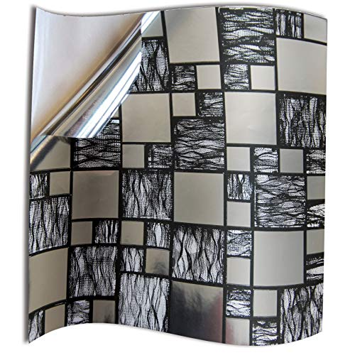 24pc Bathroom Black Silver Chrome Tile Stickers Transfers for Kitchen 6x6 inch 15x15cm Wall Tiles Flat 2D Printed Vinyl Tile Transfers Kitchen Silver Chrome