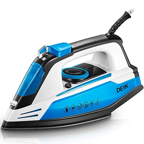 Deik Professional Grade Steam Iron for Clothes with 15s Rapid Even Heat Scratch Resistant Nanoceramic Soleplate, Anti-Drip, Steam Control, Self-Clean, Anti-Calc & Nonstick, 1200W, 6 ft Cord (Renewed)