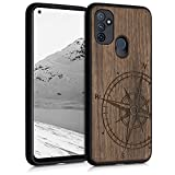 kwmobile Case Compatible with OnePlus Nord N100 - Wood Case for Phone with TPU Bumper - Navigational Compass Dark Brown