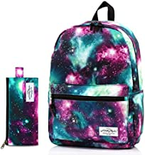 TRENDYMAX Galaxy Backpack for School Girls & Boys, Durable and Cute Bookbag with 7 Roomy Pockets, Green, Bundles With Matching Pencil Bag