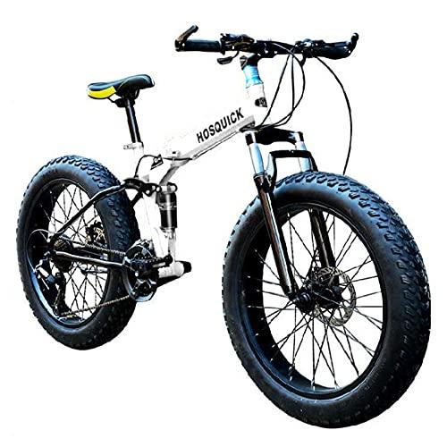 Tbagem-Yjr 7-30 Speed Plegable De Bicicleta De Montaña,20-26 Inch Bicicletas De MTB De Doble Suspensión Fat Tire Marco De Acero De Alto Carbono Doble Freno De Disco Accesorios Adicionales Blanco
