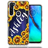 Personalized Custom Name Sunflowers Design Case for Motorola Moto G Stylus - Handwriting Style Text Name Cute Floral Cover