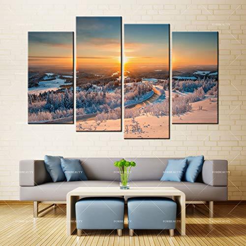 N / A Leinwandgemälde Wandbild schöne Winterlicht Landschaft Inkjet wasserdichte Tinte Hauptdekoration