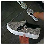 LLZY Mujer Zapatillas de Deporte Plataforma Vulcanized Mujeres Bling Mocasines de Cristal Otoño Mujeres Casual Flats Femenino Zapatos Zapatos Zapatos Grandes Tamaño 35-43 (Color : Negro, Talla : 9.5)