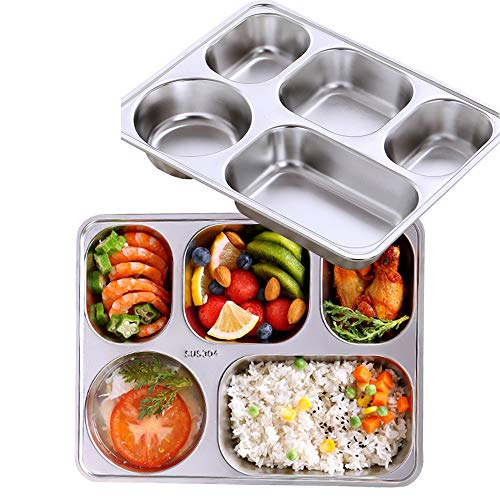 AIYoo Set of 2 Stainless Steel Rectangular Divided Dinner Tray 5 Sections Dinner Plates for Adults- 304 Stainless steel Metal Plate for Campers, and Portion Control