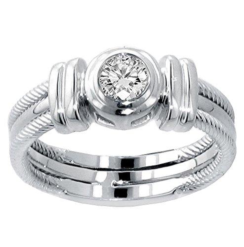 VIP Jewelry Art 0.25 CT TW Bezel Set Diamond Anniversary Wedding Ring in Platinum - Size 10 (0.25 Ct Art)