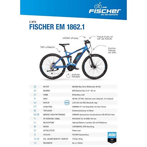 E-MTB FISCHER  MTB EM 18621 (2019) blau matt E-Mountainbike Bild 5*