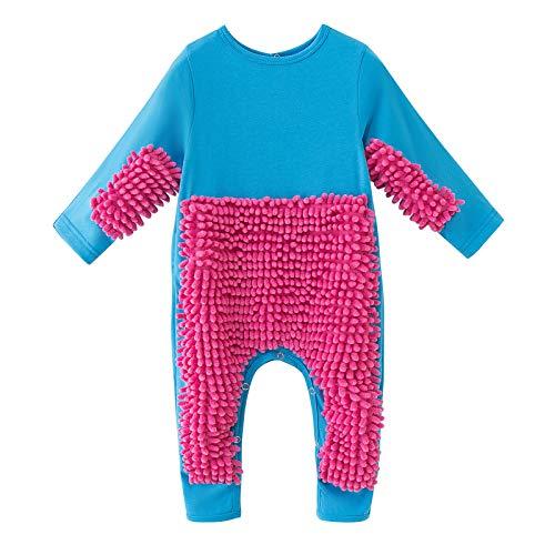 WWYB Baby Langarm Mop Strampler Outfit Lustiger Baby Kleidung Wischmop wischen Boden Strampler Overall Jumpsuit zum Krabbeln Junge Mädchen 0-24 Monate