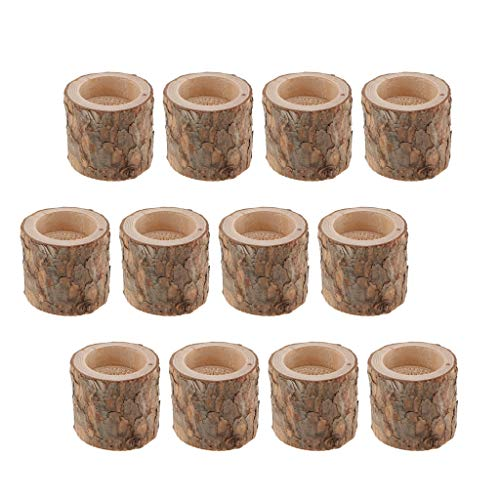 Candlestick Holders Candelabra Stand 12Pcs Wood Tealight Candle Holders Tree Stump Candlestick for Home Table Wedding Party Decor Plant Pot GCSQF1010
