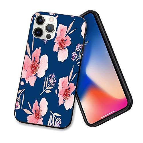 Compatible con iPhone 12 Pro Max, patrón floral de acuarela peonía, a prueba de golpes [protección de cuerpo completo] ( cubierta con parachoques de TPU suave y parte trasera
