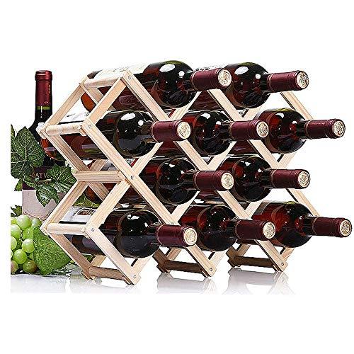 EOPER - Botellero plegable de madera para 10 botellas de vino, soporte para barra de cocina para el hogar, madera de fresno
