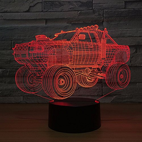 Only 1 Piece New Off-Road Vehicle 3D Light Fixtures Colorful Touch Led Visual Led Night Light Novelty Valentines Day Gift USB Led 3D Lamp