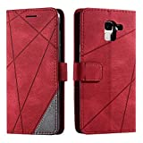 Hülle für Samsung Galaxy J6 2018, SONWO Premium Leder PU Handyhülle Flip Hülle Wallet Silikon Bumper Schutzhülle Klapphülle für Galaxy J6 2018, Rot