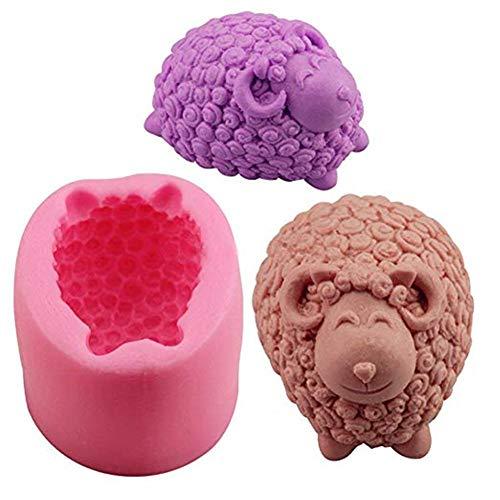 Suneast 3D Schaf Silikonform für Schokolade Seifen Kuchen Cupcakes Süßigkeiten Fondant-Formen Eiswürfel Bastelprojekte zur Kuchen- und Tortenverzierung Backutensil - Pink