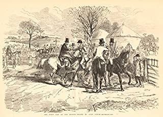 The First Day of The Season - Drawn by John Leech. Hunting. Hunting - 1856 - Old Antique Vintage Print - Art Picture Prints of Hunting