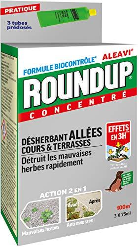 Roundup Désherbant Allées Cours et Terrasses Tubes Pré-dosés, x3