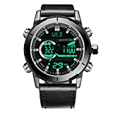 Menton Ezil Men's Sports Watch Sapphire Big Face Analog Digital Dual Time Waterproof EL Backlight, Multifunctional Outdoor Military Wrist Watches with Leather Strap