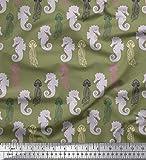 Soimoi Grün Samt Stoff Quallen Und Seepferdchen Ozean