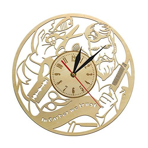 yage Reloj de Pared de Madera Hecho a Mano con Corte de Pelo para Hombre The Barbershop, Reloj de Pared de diseño de Equipo de Peluquero de salón de Belleza Original para el hogar