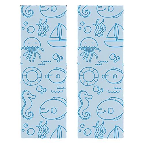 Toalla de Microfibra Animales del océano Toalla Deportiva impresión Toalla de baño Secado rápido Toalla de Mano para Sauna Playa Fitness Yoga Deporte Viaje Pack de 2 30x89 cm