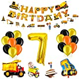 Bagger Geburtstag Deko Set für Kinder,7.Geburtstag Jungen Deko,Baustelle Kindergeburtstag Party Dekoration,Geburtstag Luftballon Deko,Bagger Luftballons,Truck Folienballons