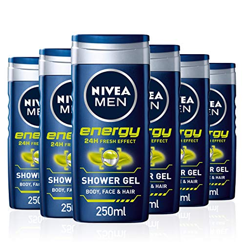 NIVEA Men Shower Gel Energy, Pack of 6 (6 x 250 ml), Energising Body Wash with Mint Extract, All-in-1 Shower Gel for Men, NIVEA Men Shower Gel with Fresh Masculine Scent