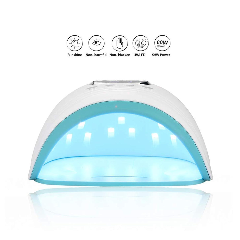 60ワットuv ledネイルランプ30レッズスマートネイルドライヤー光線療法マニキュアツール硬化ネイルジェルポリッシュネイルツールレッドブルーライト