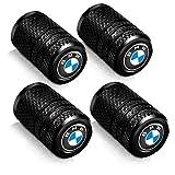 4 Pcs Tire Valve Stem Caps Suit for BMW 4 Pcs Metal Car Wheel Tire Valve Stem Caps for BMW X1 X3 M3 M5 X1 X5 X6 Z4 3 5 7Series Logo Styling Decoration Accessories Black