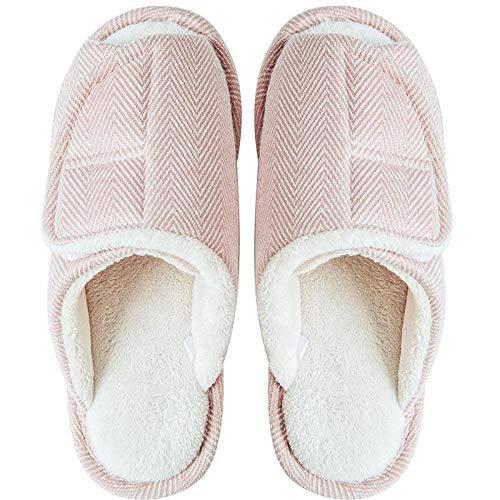 Huisschoenen voor oedeem,Zwangere vrouwen katoenen pantoffels binnenshuis, warme klittenband antislip opsluiting schoenen-43-44_Pink,DIABETISCHE ORTHOPEDISCHE DAMES BREDE Schoen