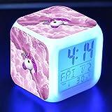 Led Square Regalo Creativo Pequeño Despertador Personaje de dibujos animados Colorido Color que cambia el estado de ánimo luminoso