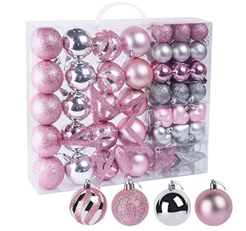 60 Piezas Bolas de Árbol de Navidad. Decoración con Purpurina en Rosa y Plata en Plástico, con Estrella, Cadena, Caja,...