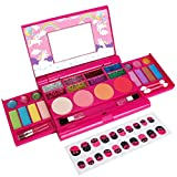 Makeup Kit for Little Girl, Kids Makeup, Real Washable Palette Makeup Set, Fold Out Cosmetic Kit Toy with Mirror for 4 5 6 7 8 Years Old Girls Birthday Gifts
