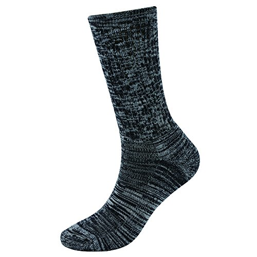 EnerWear 4 Pack Women's Merino Wool Outdoor Hiking Trail Crew Sock (US Shoe Size 4-10½, Black/Grey/Multi)