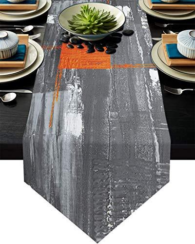 COMMER Camino de mesa, diseño de graffiti amarillo en blanco y negro para decoración de mesa para bodas, ceremonia de graduación/banquete (33 x 228 cm)