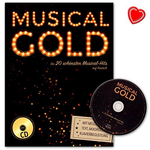 Musical Gold : De 20 mooiste musical hits in het Duits - - uitgave met melodieline, tekst, akkoorden en piano begeleiding (met hartvormige muziekklem) - BOE7870 9783865439727