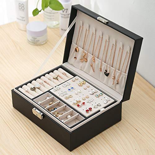 GUOSHUFANG Sieradendoosje - Organizador de joyas para mujer (poliuretano, vacío, con capas), color negro