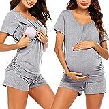 XIAOQI Pigiama da donna per allattamento e allattamento, a maniche corte, per gravidanza, maternità, maternità, abbigliamento da allattamento + pantaloncini tinta unita, set S-XXL grigio. L