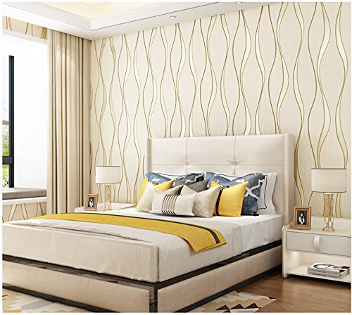 Yosot Modern 3D Relief Curves Stripes Wallpaper Tv Background Living Room Non-Woven Wallpaper Yellow