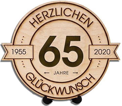 DARO Design - Holzscheibe graviert - 65 Jahre - Größe 20cm - Geschenk zum Jubiläum, Geburtstag, Jahrestag - Herzlichen Glückwunsch