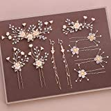 Shiyi Chinese Hanfu Bridal Ornaments Wedding Hair Accessory Earring Clips Exquisite Crystal Wedding Jewelry (Gold, Pink)(1 Set)