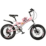 Axdwfd Infantiles Bicicletas Bicicleta De Amortiguador De 18/20 Pulgadas, Bicicleta Plegable, Adecuada para Niños Y Niñas De 7 A 14 Años, 3 Colores(Size:18in,Color:Rosa)