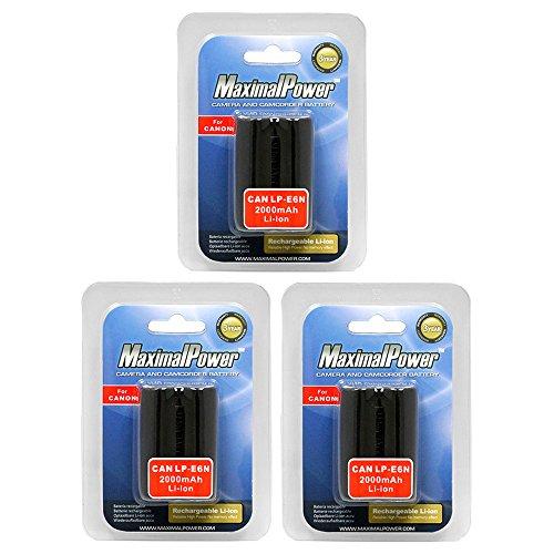 MaximalPower Battery 3-Pack for Canon LP-E6N LP-E6 Batteries. Fits EOS 5D Mark III 5DS R 70D 60D 7D Mk II 6D