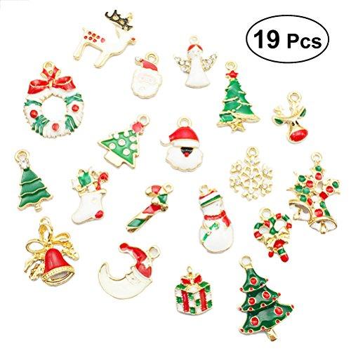 Fenical 19pcs Charms di Natale pendente a goccia per collana bracciali pendenti gioielli fai da te risultati regalo di Natale