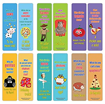 Creanoso Funny Jokes Series 3 Bookmarks for Kids  12-Pack  – Premium Gift Set – Awesome Bookmarks for Children Boys Girls Teens – Six Bulk Assorted Bookmarks Designs