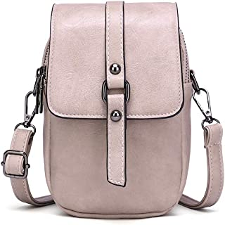 Women Leather Crossbody Phone Bag, Small Messenger Shoulder Bag Cash Handbag Wallet Purse
